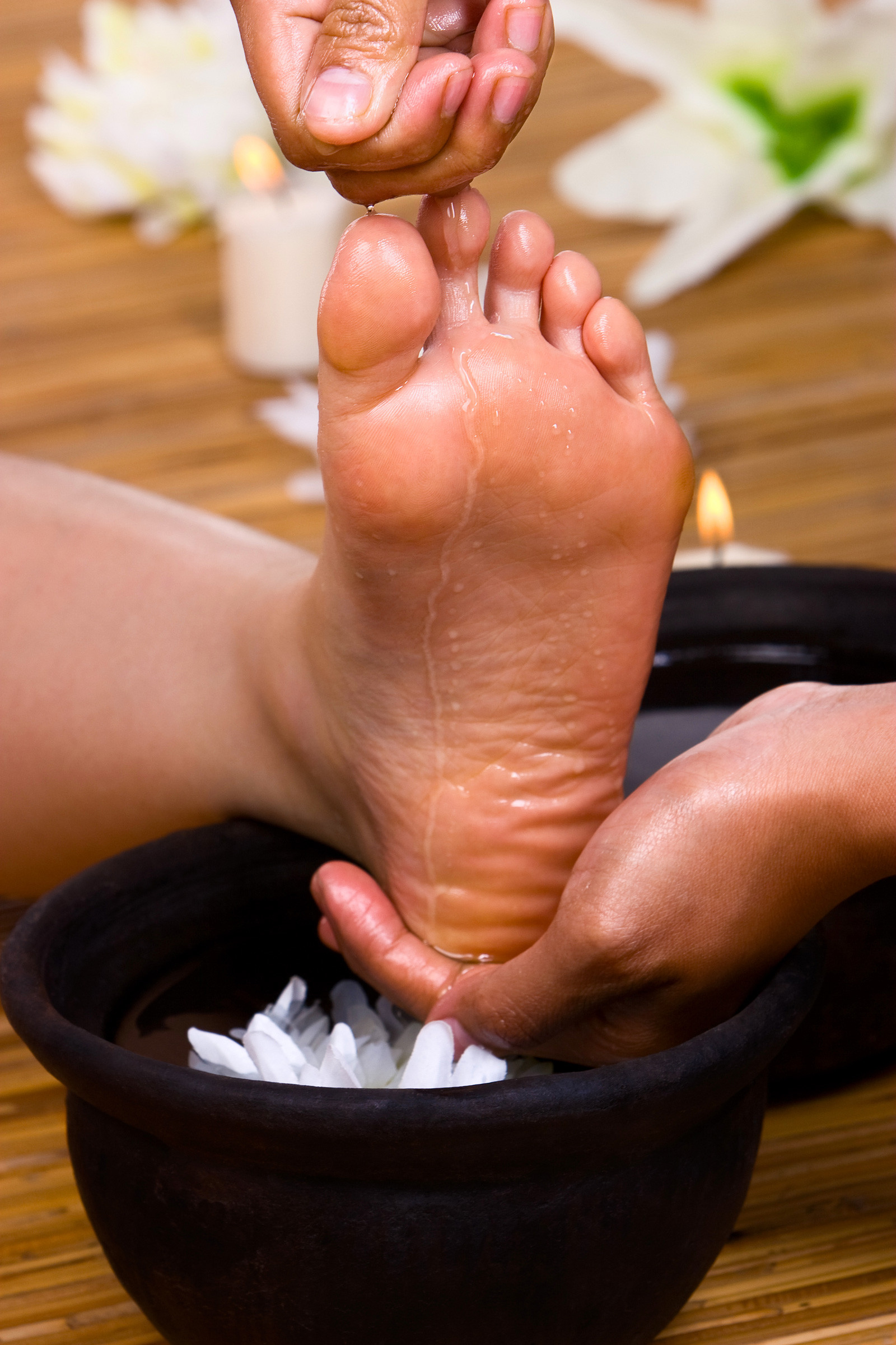A foot massage in process.