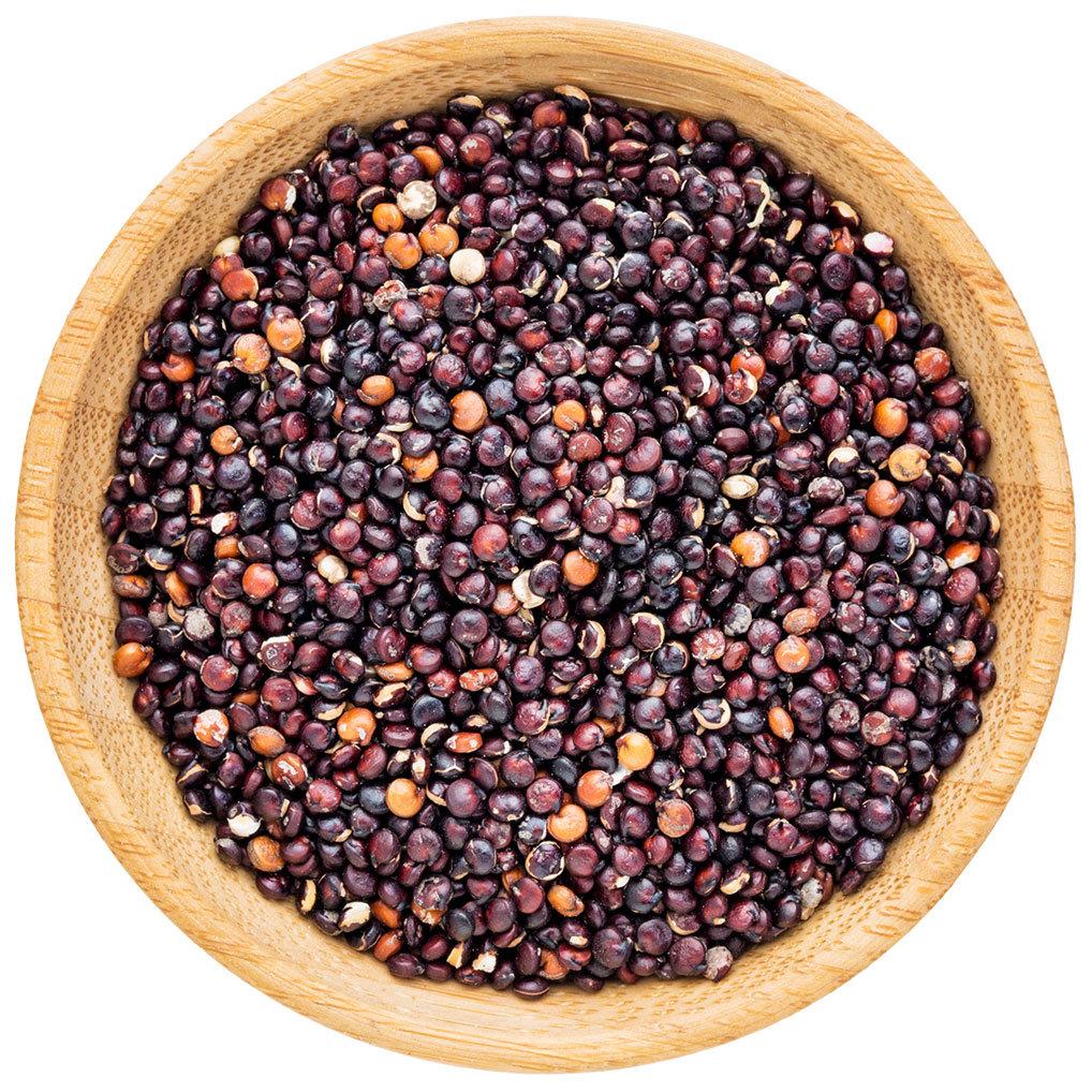 Raw black quinoa seeds
