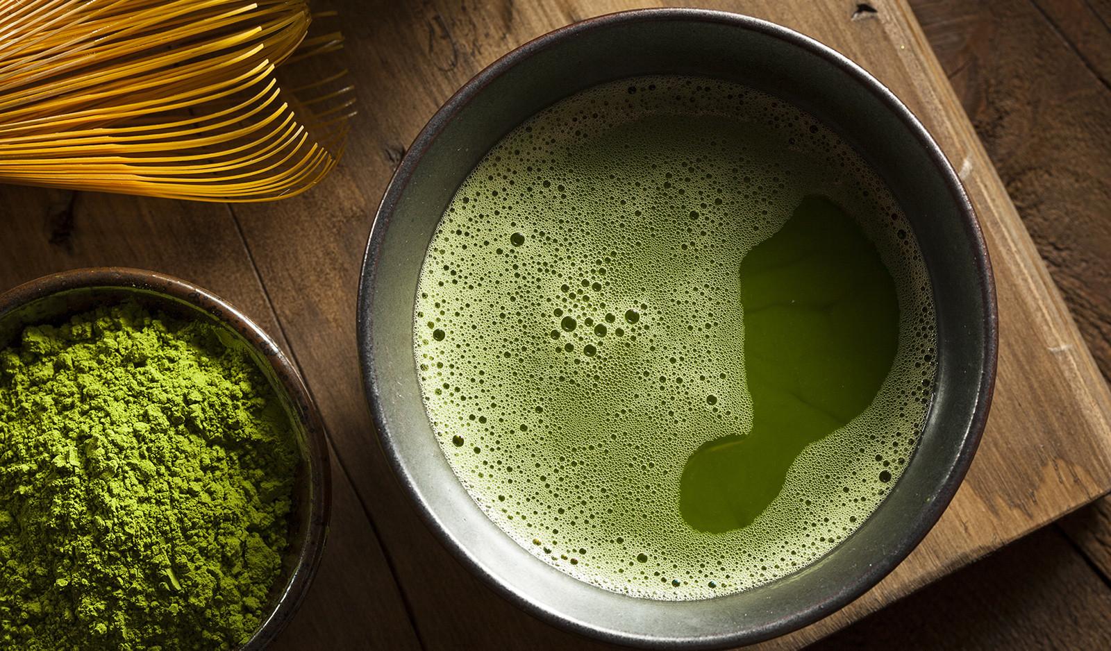 Green matcha tea - a great coffee alternative.