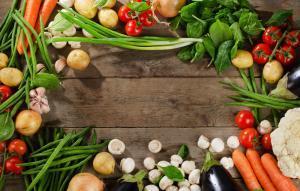 Fresh organic vegetables from an urban garden