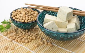bowl of soybeans and bowl of tofu cut into cubes with a pair of chopsticks