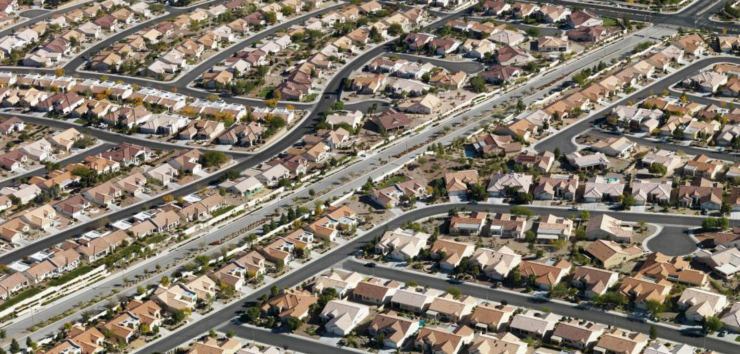 aerial view of urban streets in Las Vegas