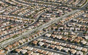 aerial view of urban streets in Las Vegas