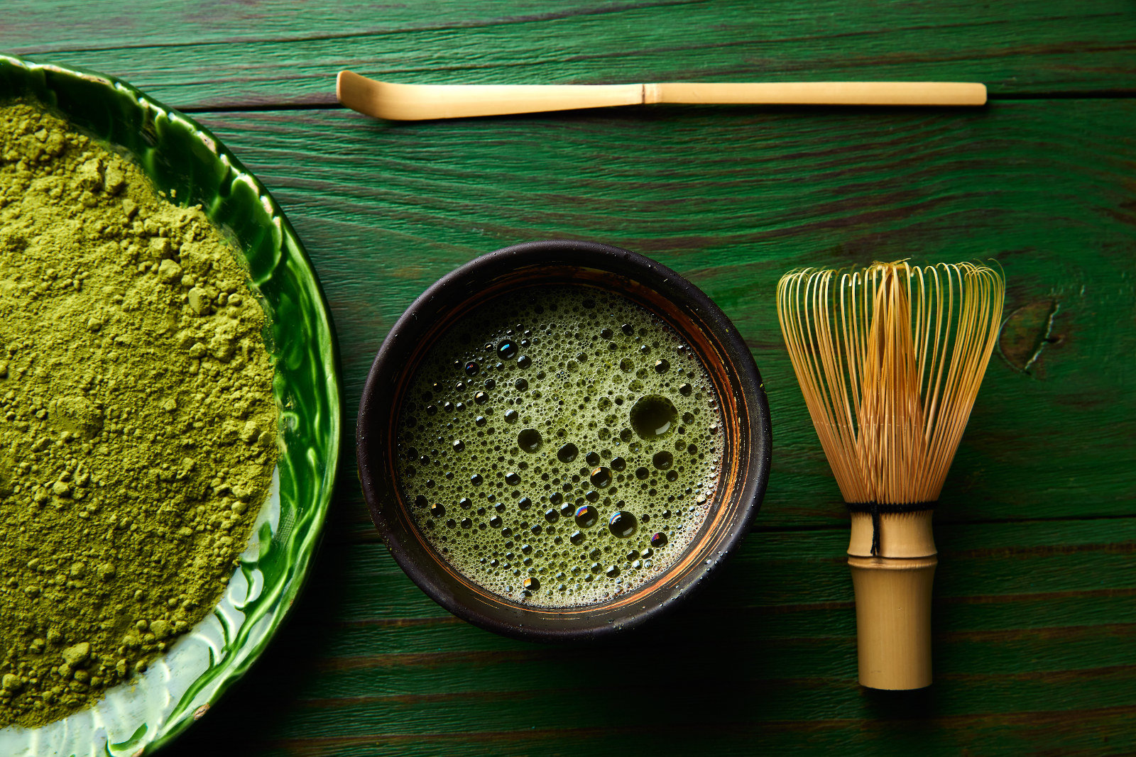 Matcha tea powder bamboo whisk chasen and spoon for making Japanese green tea