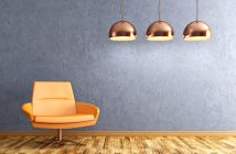 blue natural plaster wall in a livingroom