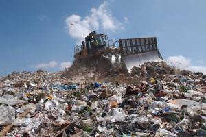 pile of trash at a landfill